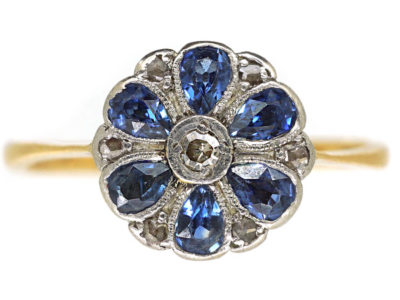 Art Deco 18ct Gold & Platinum, Sapphire & Diamond Cluster Ring