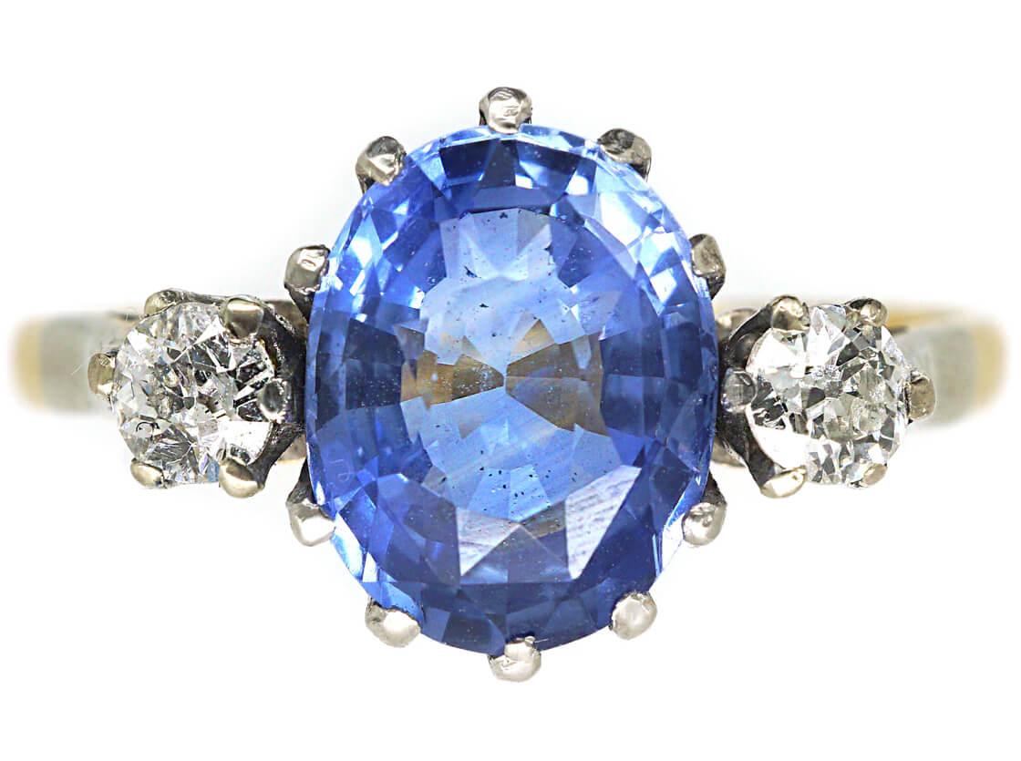 18ct Gold & Platinum, Ceylon Sapphire & Diamond Ring