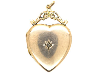 Edwardian 9ct Gold Heart Shaped Locket set with a Rose Diamond