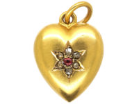 Edwardian 15ct Gold Heart Pendant set with a Ruby & Rose Diamonds
