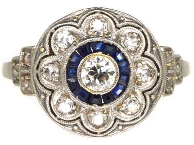 Art Deco Platinum & 18ct Gold, Sapphire & Diamond Cluster Ring