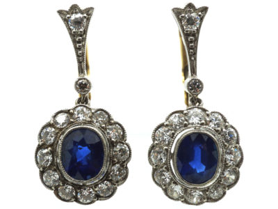Edwardian Platinum & 18ct Gold , Sapphire & Diamond Oval Cluster Drop Earrings