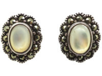 Silver, Marcasite & Mother of Pearl Oval Cluster Earrings