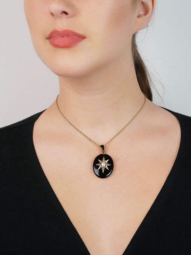 Victorian 18ct Gold, Onyx, Natural Pearl & Rose Diamond Oval Pendant with Locket Back