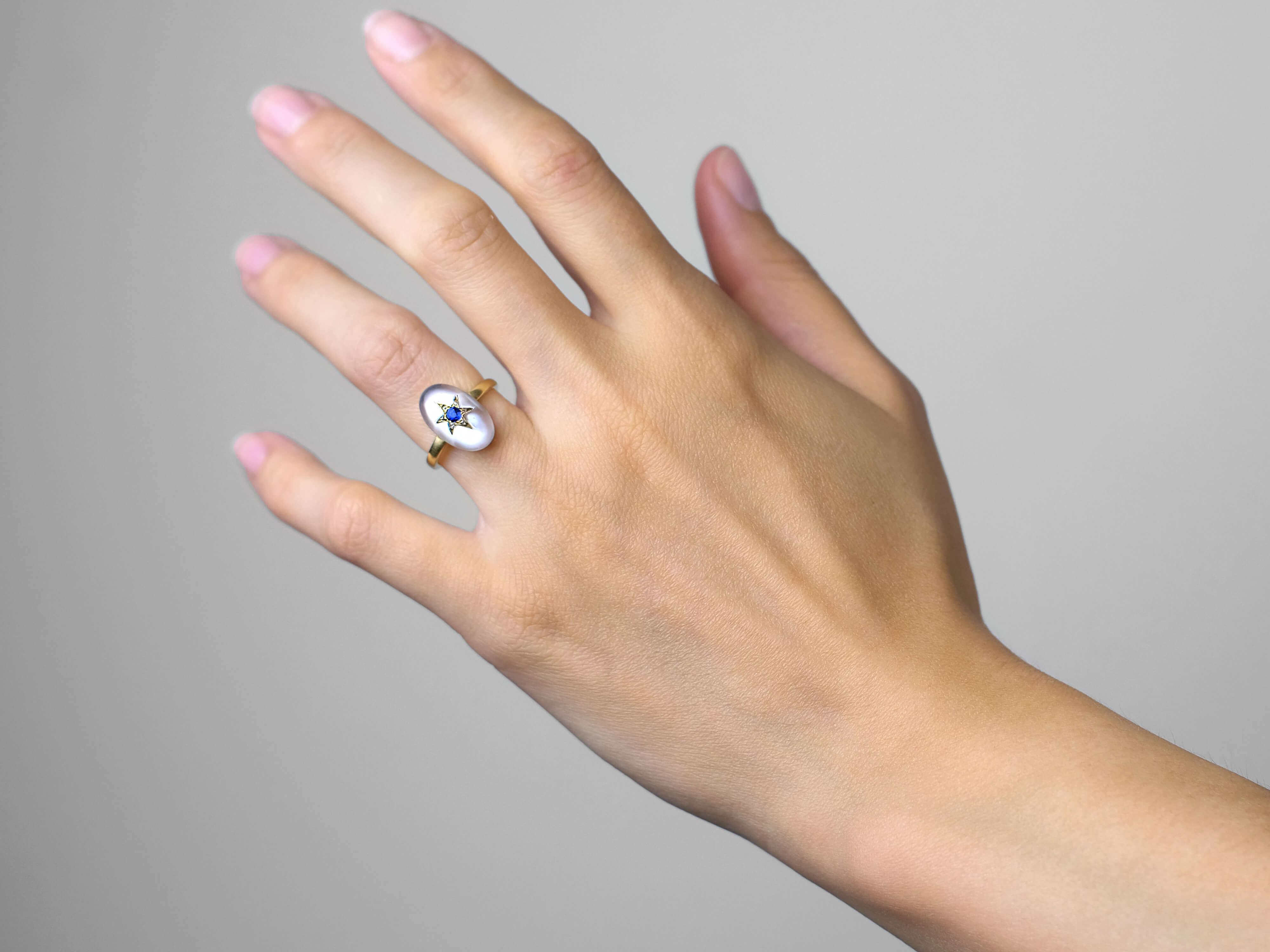 18ct Moonstone, Rose Diamond & Sapphire Ring