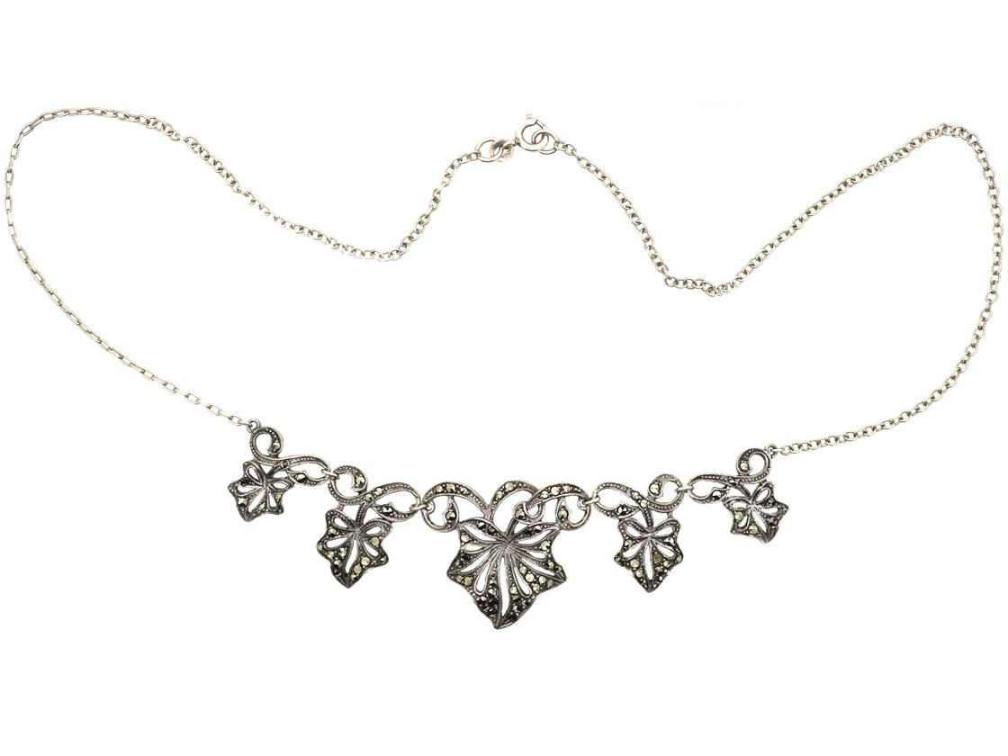 Art Deco Silver & Marcasite Ivy Leaf Necklace