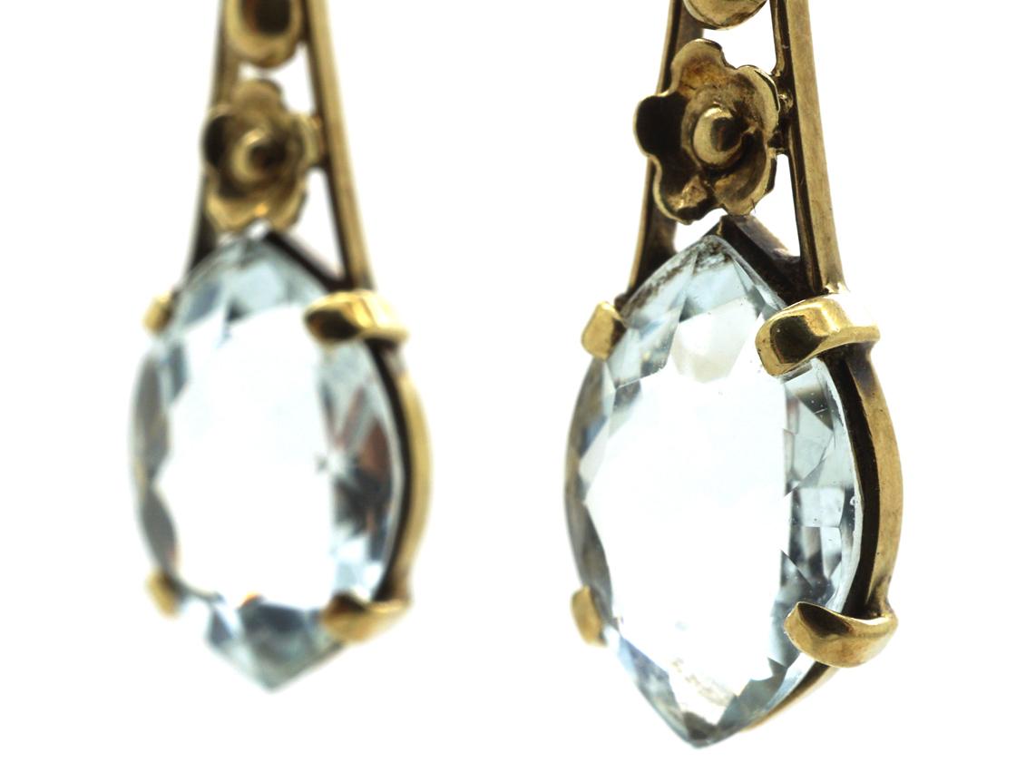 Art Deco 14ct Gold & Aquamarine Drop Earrings