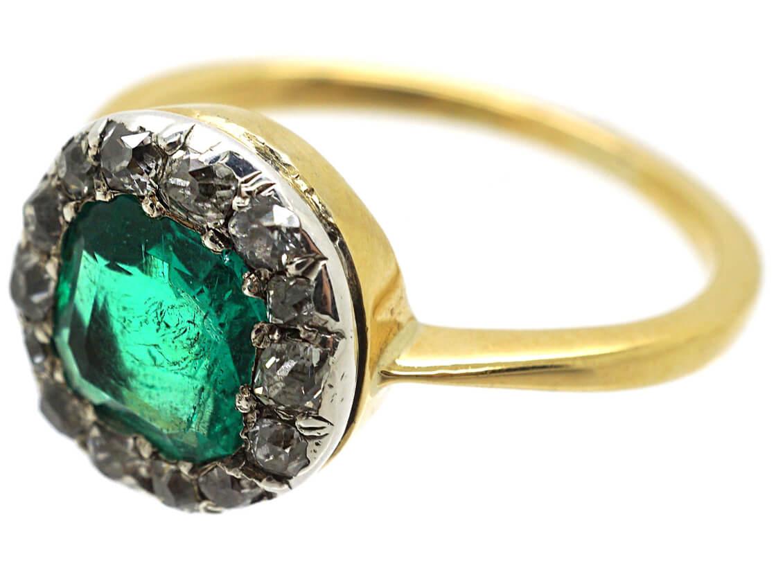 Victorian 18ct Gold Emerald & Diamond Ring
