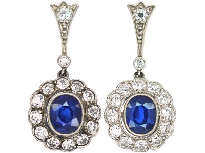 Edwardian Platinum & 18ct Gold , Sapphire & Diamond Oval Cluster Drop Earrings
