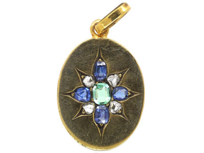 Edwardian 18ct Gold Oval Pendant set with an Emerald, Rose Diamonds & Sapphires