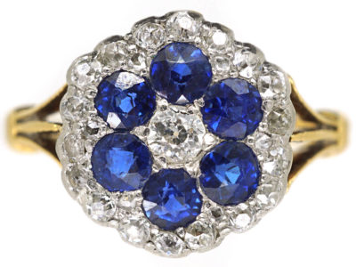 Edwardian 18ct Gold, Diamond & Sapphire Hexagonal Cluster Ring