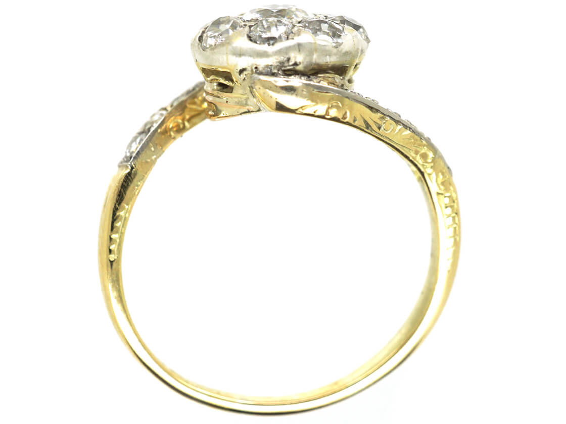 Edwardian 14ct Gold & Diamond Cluster Ring with Scroll Shoulders