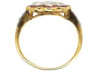 Art Deco 18ct Gold & Platinum, Diamond & Ruby Cluster Ring