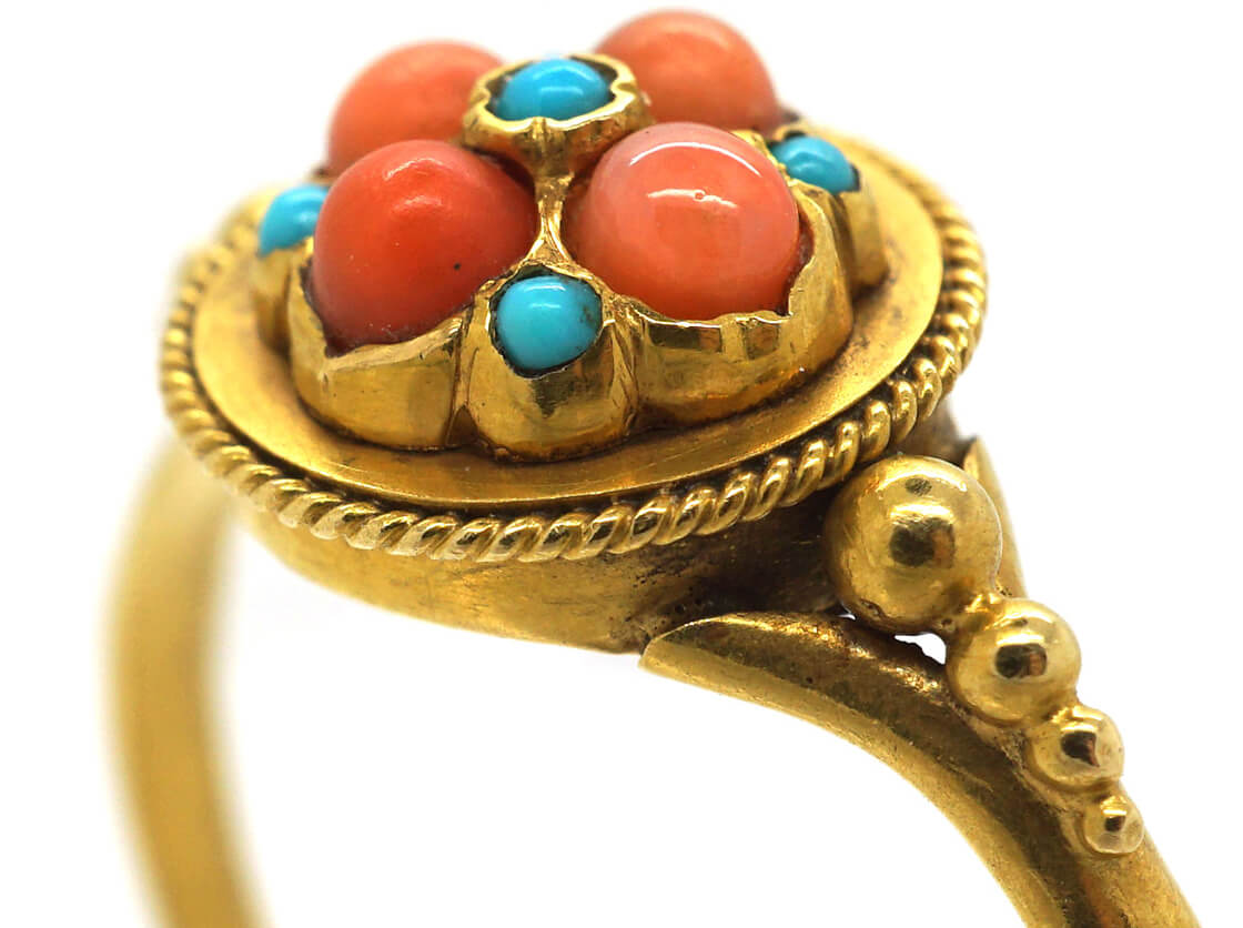 Regency 18ct Gold, Coral & Turquoise Cluster Ring