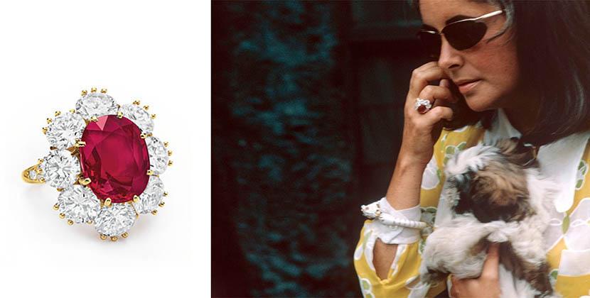 Elizabeth Taylor wearing her ruby and diamond Van Cleef & Arpels ring