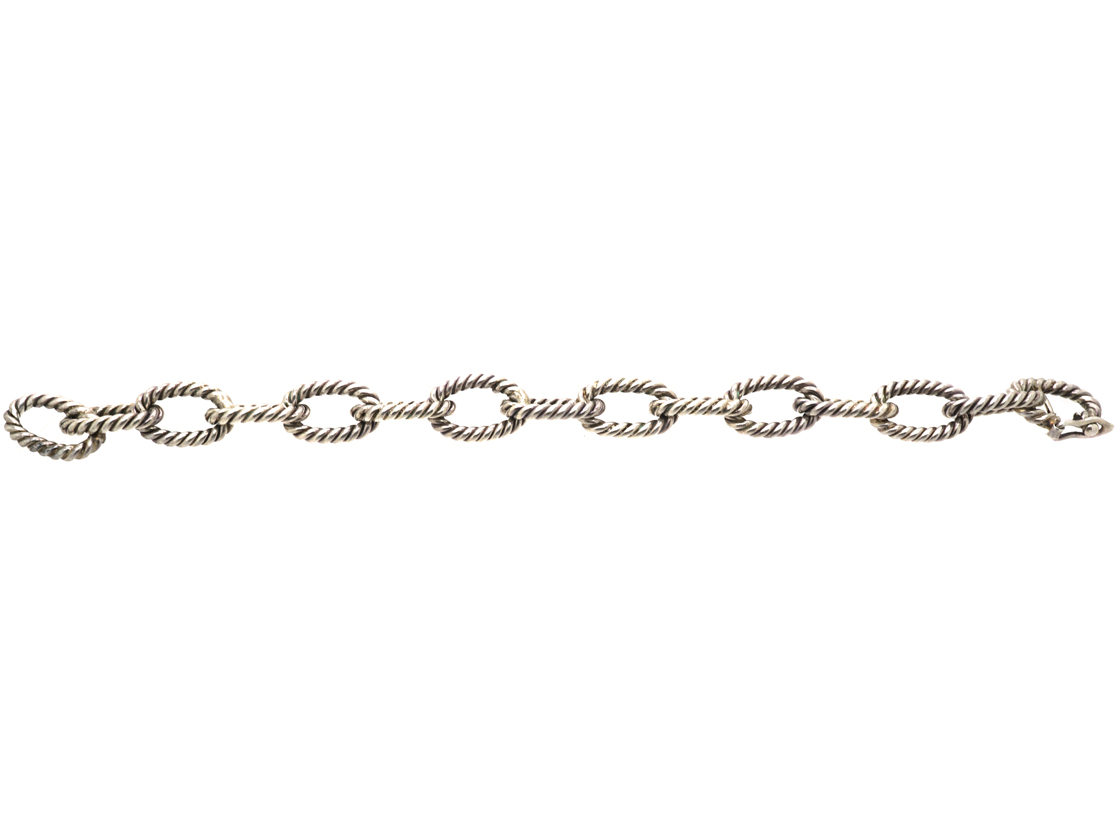 Silver Rope Design Curb Bracelet