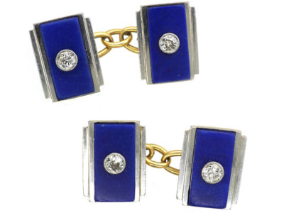 Art Deco 18ct Gold & Platinum, Lapis & Diamond Rectangular Cufflinks