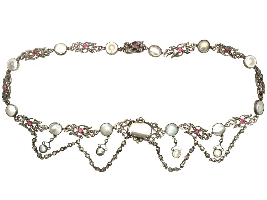 Edwardian Silver, Marcasite, Garnet & Blister Pearl Necklace