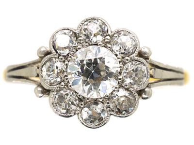 Edwardian 18ct Gold & Platinum Diamond Daisy Cluster Ring
