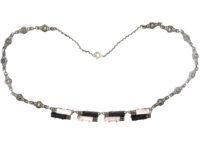 Art Deco Silver, Onyx & Rose Quartz Necklace