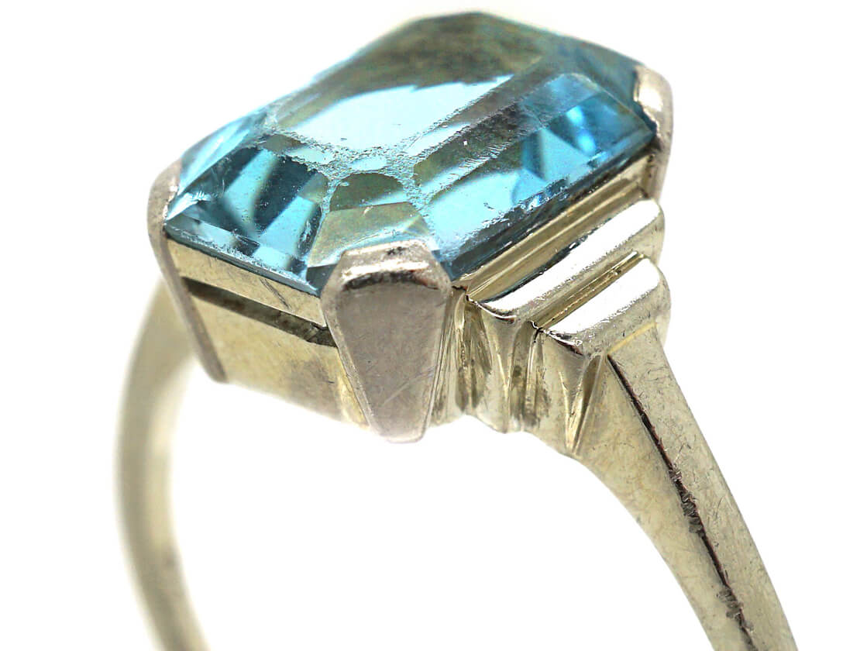 Art Deco 18ct White Gold Aquamarine Ring