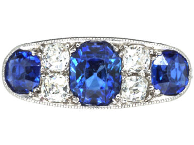 French Art Deco Platinum, Three Stone Sapphire & Diamond Ring