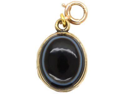 Victorian 15ct Gold Oval Onyx Locket