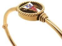 Edwardian 15ct Gold Bangle with Naval Flag Motif