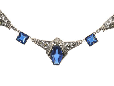 Art Deco Silver, Marcasite & Blue Paste Necklace