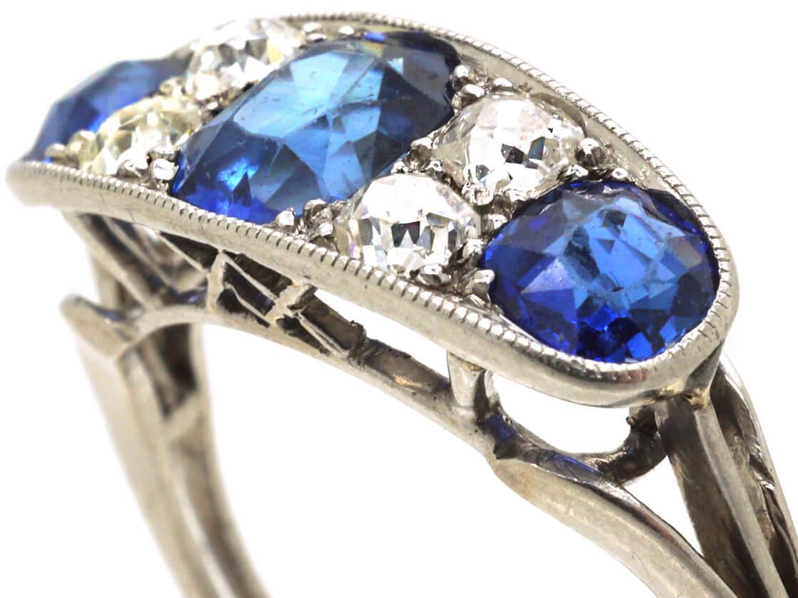 French Art Deco Platinum, Three Stone Sapphire & Diamond Ring