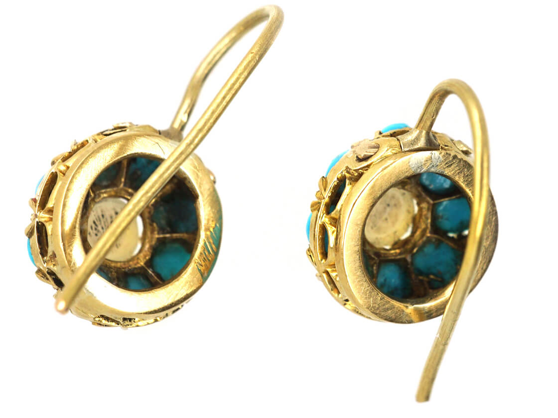 Edwardian 18ct Gold, Natural Split Pearl & Turquoise Cluster Earrings