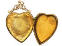 Edwardian 9ct Gold Heart Shaped Locket set with a Rose Diamond