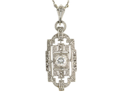 Art Deco 14ct White Gold & Diamond Pendant on 14ct White Gold Chain