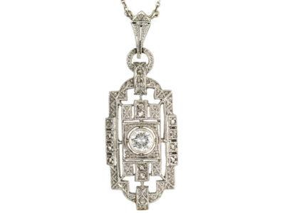 Art Deco 14ct White Gold & Diamond Pendant on 14ct White Gold Chain