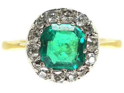Victorian 18ct Gold Emerald & Diamond Ring