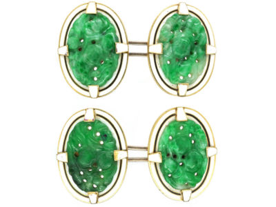 Art Deco 18ct Gold, Jade & White Enamel Oval Cufflinks