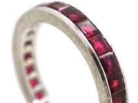 Retro 18ct White Gold & Ruby Eternity Ring