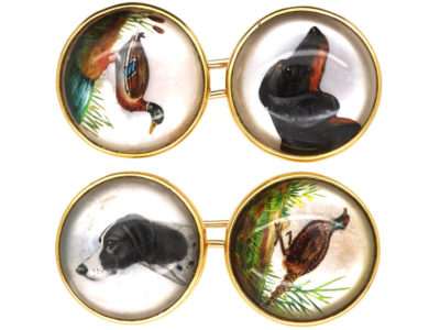 French 18ct Gold Hunting Dogs, Pheasant & Duck Rock Crystal Intaglio Cufflinks