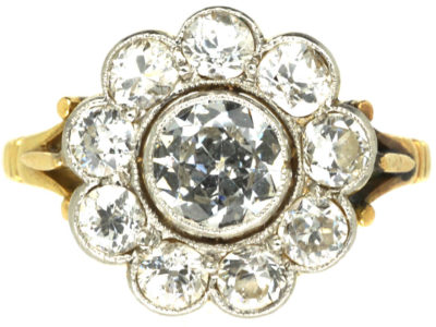 Edwardian 18ct Gold & Platinum Large Diamond Cluster Ring