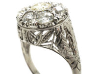Art Deco 18ct White Gold Diamond Cluster Ring