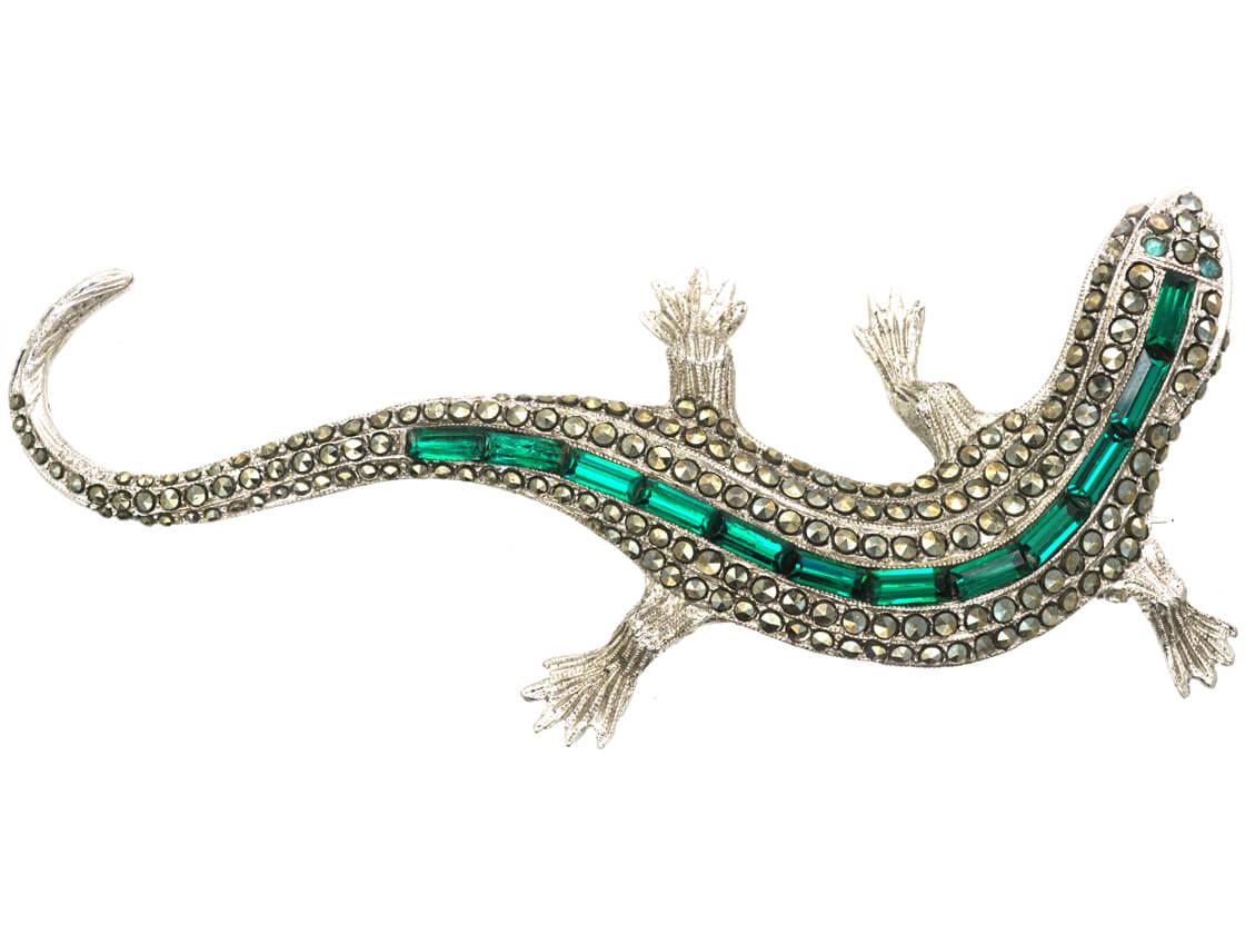 Art Deco Silver & Green & White Paste Lizard Brooch