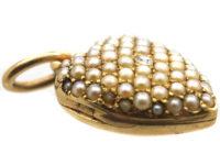 Edwardian 15ct Gold Diamond & Natural Split Pearl Pave Set Heart Locket