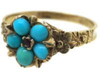 Regency 15ct Gold Forget Me Not Ring set with Turquoise & Ruby