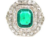 Art Deco 18ct Gold & Platinum, Columbian Emerald & Diamond Rectangular Ring with Diamond Set Shoulders