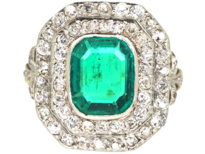 Art Deco 18ct Gold & Platinum, Columbian Emerald & Diamond Rectangular Ring with Diamond Set Shoulders