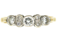 18ct Gold & Diamond Three Stone Ring with Small Diamonds In Between