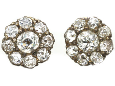 Edwardian Diamond Cluster Earrings