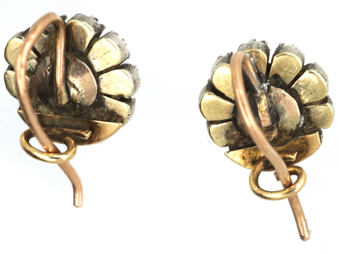 Georgian Round Silver & Gold Diamond Earrings