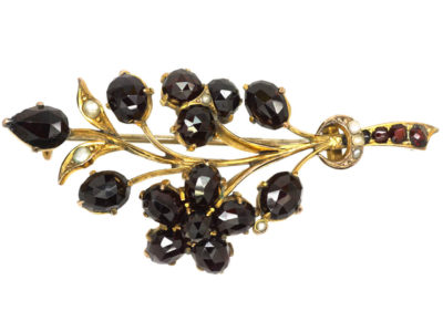 Edwardian 9ct Gold, Garnet & Natural Split Pearls Flower Spray Brooch