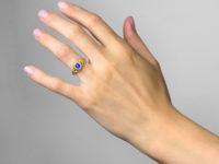 Victorian 18ct Gold, Sapphire & Diamond Cluster Ring